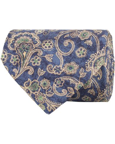 Stenströms Printed Flower Silk 8 cm Tie Blue  i gruppen Accessoarer / Slipsar hos Care of Carl (13519710)