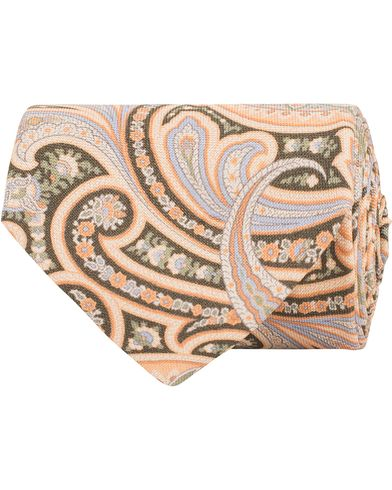 Stenströms Printed Paisley Silk 8 cm Tie Orange/Green  i gruppen Accessoarer / Slipsar hos Care of Carl (13519910)