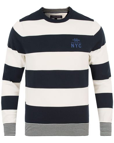 Tommy Hilfiger Block Stripe Knitted Crew Neck Midnight i gruppen Kläder / Tröjor / Stickade tröjor hos Care of Carl (13526811r)