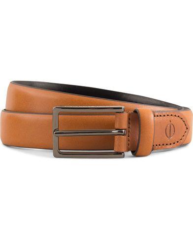 Oscar Jacobson Leather 2,5 cm Belt Mid Brown i gruppen Accessoarer / Bälten / Släta bälten hos Care of Carl (13537411r)
