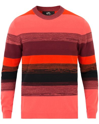 PS by Paul Smith Cotton Striped Crew Neck Red/Pink i gruppen Tröjor / Stickade tröjor hos Care of Carl (13538211r)