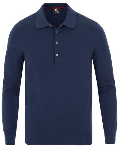 PS by Paul Smith Long Sleeve Polo Shirt Indigo i gruppen Tröjor / Pullovers / Pullovers med knappkrage hos Care of Carl (13538611r)