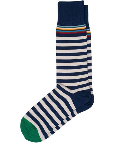 Paul Smith Multi Top Stripe Sock Indigo/White  i gruppen Kläder / Underkläder / Strumpor / Vanliga strumpor hos Care of Carl (13542110)