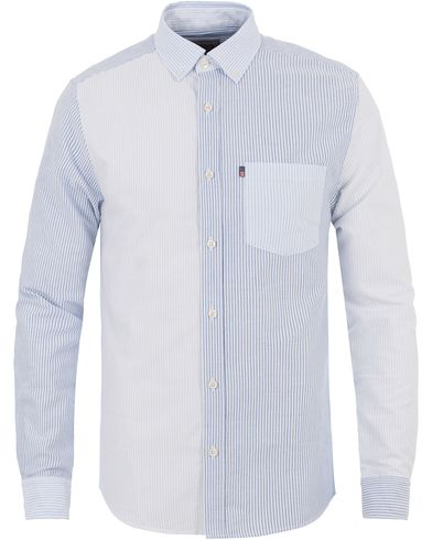 Lexington Baker Patch Work Oxford Shirt Multi Blue/White Stripe i gruppen Skjortor / Oxfordskjortor hos Care of Carl (13550811r)