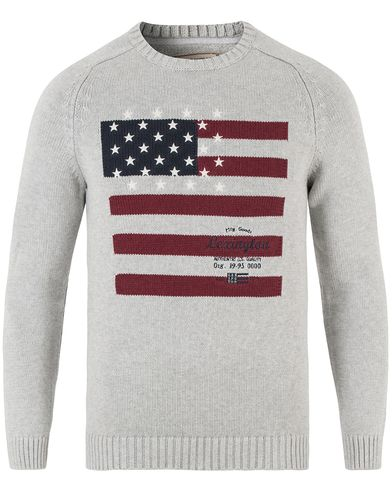 Lexington Dylan Knitted Flag Sweater Light Warm Grey Melange i gruppen Tröjor / Stickade tröjor hos Care of Carl (13551611r)