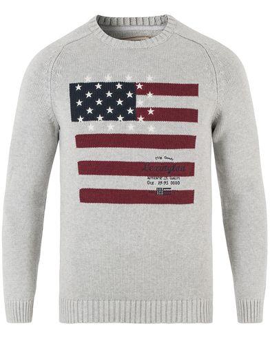 Lexington Dylan Knitted Flag Sweater Light Warm Grey Melange i gruppen Kläder / Tröjor / Stickade tröjor hos Care of Carl (13551611r)