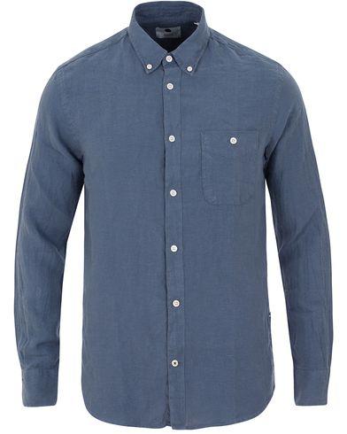 NN07 New Derek Linen Shirt Indigo Blue i gruppen Kläder / Skjortor / Linneskjortor hos Care of Carl (13560511r)