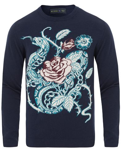 Etro Intarsio Sweater Blue i gruppen Tröjor / Pullovers / Rundhalsade pullovers hos Care of Carl (13563711r)