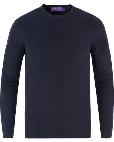 Ralph Lauren Purple Label Textured Cotton Sweater Classic Chairman Navy i gruppen Tröjor / Stickade tröjor hos Care of Carl (13570111r)