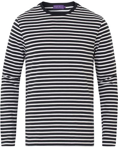 Ralph Lauren Purple Label Striped Boatneck Sweater Black/White i gruppen Trøjer / Strikkede trøjer hos Care of Carl (13570711r)