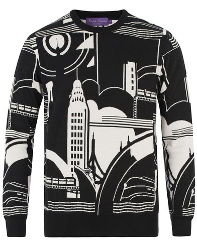 Ralph Lauren Purple Label Art Deco City Cashmere/Silk Sweater Black/White i gruppen Tøj / Trøjer / Strikkede trøjer hos Care of Carl (13572311r)