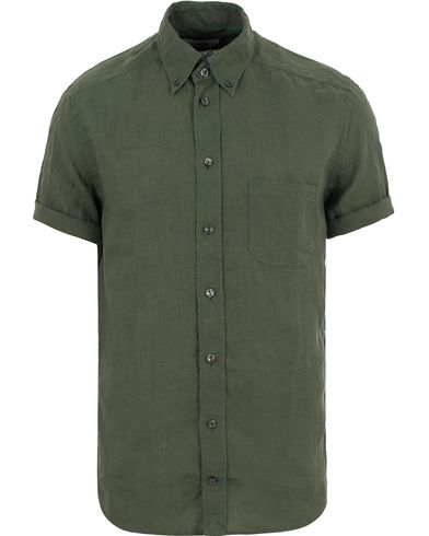Eton Slim Fit Linen Short Sleeve Shirt Olive Green i gruppen Skjortor / Kortärmade skjortor hos Care of Carl (13573911r)