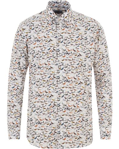 Eton Slim Fit Printed Birds Shirt White i gruppen Skjortor / Casual skjortor hos Care of Carl (13574811r)
