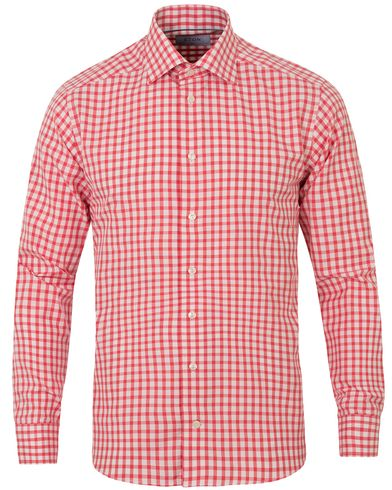 Eton Slim Fit Signature Twill Check Shirt Red i gruppen Skjortor / Casual skjortor hos Care of Carl (13575411r)