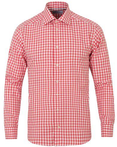 Eton Slim Fit Signature Twill Check Shirt Red i gruppen Kläder / Skjortor / Casual skjortor hos Care of Carl (13575411r)
