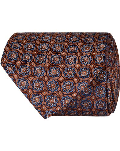 Eton Silk Woven Medallion 8 cm Tie Orange  i gruppen Accessoarer / Slipsar hos Care of Carl (13576510)