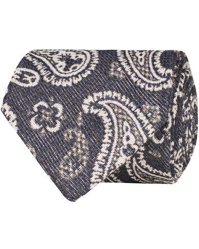 Eton Linen/Silk Woven Paisley 8 cm Tie Navy  i gruppen Accessoarer / Slipsar hos Care of Carl (13576910)