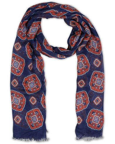 Eton Modal/Cotton Printed Medallion Scarf Navy  i gruppen Accessoarer / Scarves hos Care of Carl (13577610)