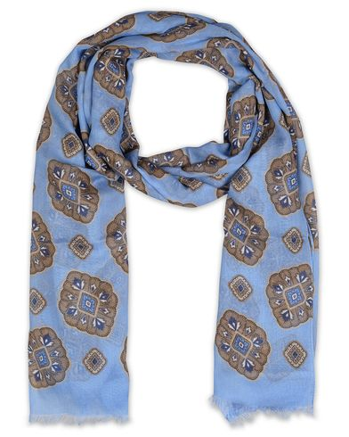Eton Modal/Cotton Printed Medallion Scarf Light Blue  i gruppen Accessoarer / Scarves hos Care of Carl (13577710)