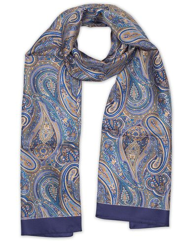 Eton Silk Printed Paisley Scarf Blue/Brown  i gruppen Accessoarer / Scarves hos Care of Carl (13578410)