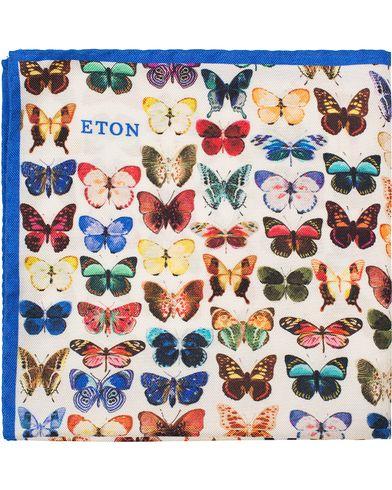 Eton Silk Printed Butterfly Pocket Square White  i gruppen Design B / Accessoarer / Näsdukar hos Care of Carl (13578710)