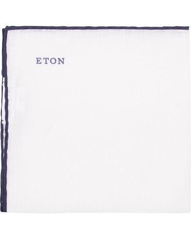 Eton Linen Hand Rolled Edge Pocket Square Dark Blue  i gruppen Accessoarer / Näsdukar hos Care of Carl (13579010)