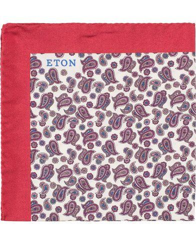 Eton Silk Little Paisley Pocket Square Wine Red  i gruppen Accessoarer / Näsdukar hos Care of Carl (13579310)