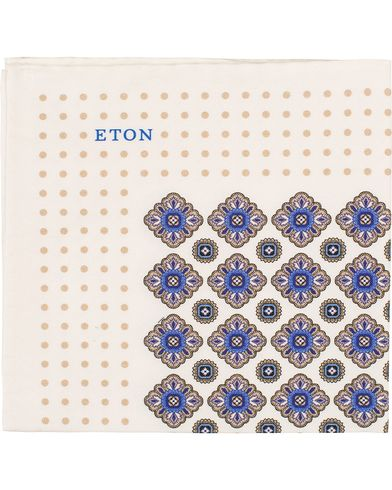 Eton Cotton/Silk Printed Medallion Pocket Square White  i gruppen Accessoarer / Näsdukar hos Care of Carl (13579810)