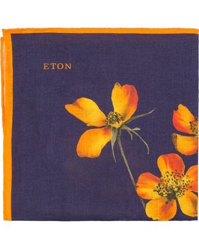Eton Linen Printed Flower Pocket Square Navy  i gruppen Accessoarer / Näsdukar hos Care of Carl (13579910)