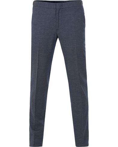 Incotex Wool/Linen Stretch Jogger Pants Structured Blue i gruppen Kläder / Byxor / Kostymbyxor hos Care of Carl (13587811r)