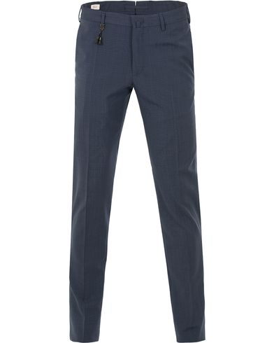 Incotex Techno Wool Stretch Pants Structured Navy i gruppen Kläder / Byxor / Kostymbyxor hos Care of Carl (13587911r)