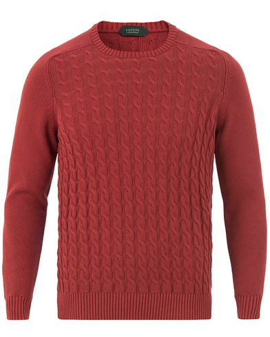 Zanone Cotton Cable Sweater Bordeaux Red i gruppen Tröjor / Stickade tröjor hos Care of Carl (13588111r)