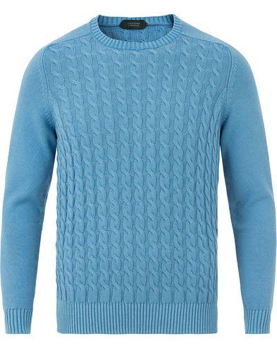 Zanone Cotton Cable Sweater Sky Blue i gruppen Tröjor / Stickade tröjor hos Care of Carl (13588211r)