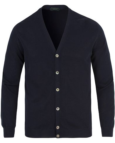 Zanone Cotton Crep Cardigan Navy Blue i gruppen Design A / Tröjor / Cardigans hos Care of Carl (13588411r)