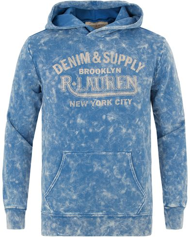 Denim & Supply Ralph Lauren Popover Printed Hood Washed Blue i gruppen Design A / Tröjor / Huvtröjor hos Care of Carl (13590611r)