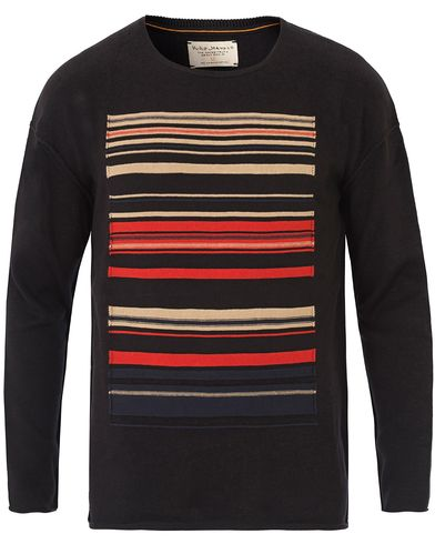 Nudie Jeans Tomas Ethnic Stripe Knitted Crew Neck Black i gruppen Kläder / Tröjor / Stickade tröjor hos Care of Carl (13601811r)