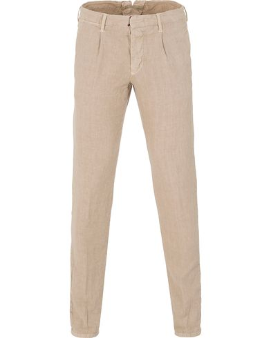 Incotex Slim Fit Linen/Cotton Slacks Washed Khaki i gruppen Byxor / Chinos hos Care of Carl (13606311r)