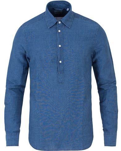 Aspesi Popover Linen/Cotton Shirt Blue i gruppen Skjortor / Casual skjortor hos Care of Carl (13611811r)