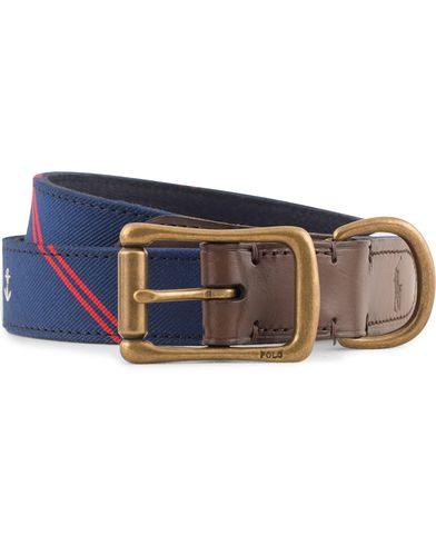 Polo Ralph Lauren Tie Silk Leather Belt Navy i gruppen Design A / Accessoarer / Bälten / Släta bälten hos Care of Carl (13618811r)