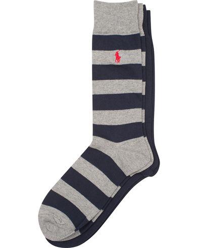 Polo Ralph Lauren 2-Pack Stripe/Plain Socks Grey/Navy  i gruppen Underkläder / Strumpor / Vanliga strumpor hos Care of Carl (13619710)
