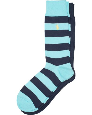 Polo Ralph Lauren 2-Pack Stripe/Plain Socks Light Blue/Navy  i gruppen Kläder / Underkläder / Strumpor / Vanliga strumpor hos Care of Carl (13619810)