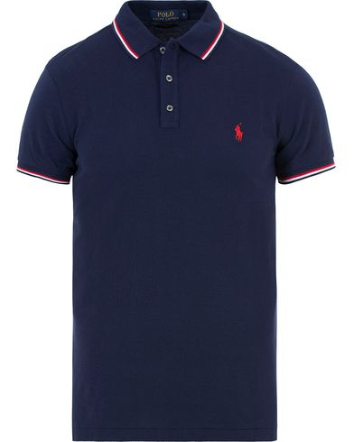 Polo Ralph Lauren Custom Fit Twin Tip Polo Navy i gruppen Kläder / Pikéer / Kortärmade pikéer hos Care of Carl (13622011r)