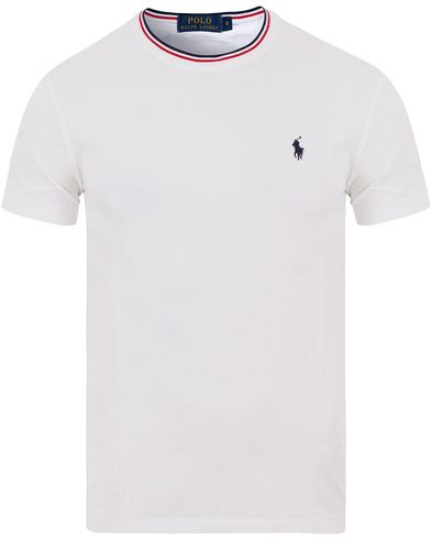 Polo Ralph Lauren Pique Crew Neck Twin Tip Tee White i gruppen Kläder / T-Shirts / Kortärmade t-shirts hos Care of Carl (13622911r)