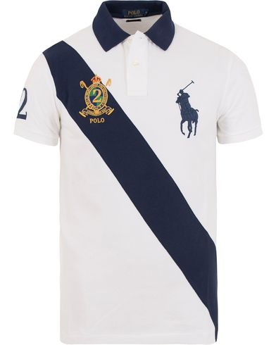 Polo Ralph Lauren Custom Fit Big Pony Diagonal Stripe Polo White/Navy i gruppen Pikéer / Kortärmade pikéer hos Care of Carl (13626811r)