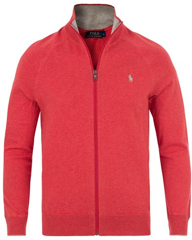Polo Ralph Lauren Full Zip Cotton Sweater Starboard Red i gruppen Tröjor / Zip-tröjor hos Care of Carl (13629211r)