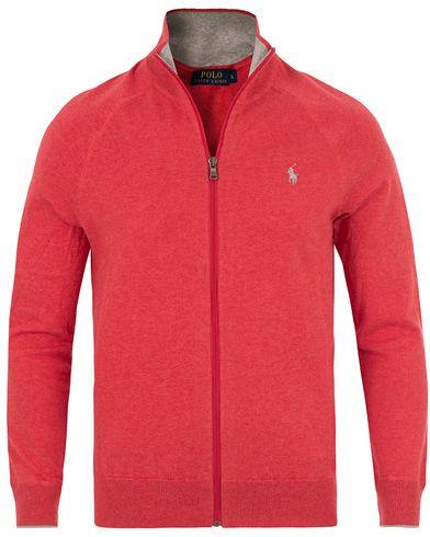 Polo Ralph Lauren Full Zip Cotton Sweater Starboard Red i gruppen Kläder / Tröjor / Zip-tröjor hos Care of Carl (13629211r)
