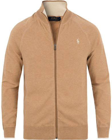 Polo Ralph Lauren Full Zip Cotton Sweater New Camel Melange i gruppen Tröjor / Zip-tröjor hos Care of Carl (13629311r)