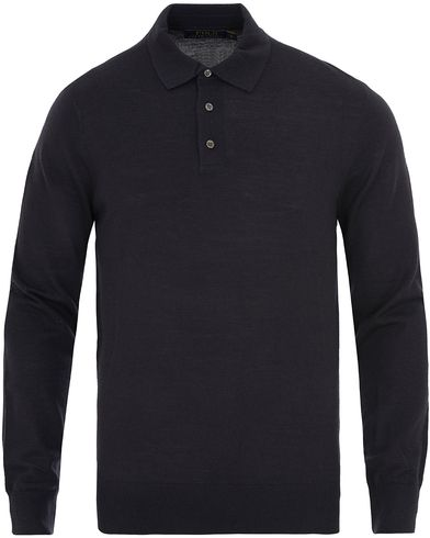 Polo Ralph Lauren Long Sleeve Wool/Silk/Cashemere Knitted Polo Navy i gruppen Tröjor / Stickade tröjor hos Care of Carl (13629811r)