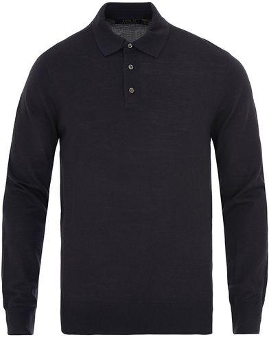 Polo Ralph Lauren Long Sleeve Wool/Silk/Cashemere Knitted Polo Navy i gruppen Tröjor / Pullovers / Pullovers med knappkrage hos Care of Carl (13629811r)