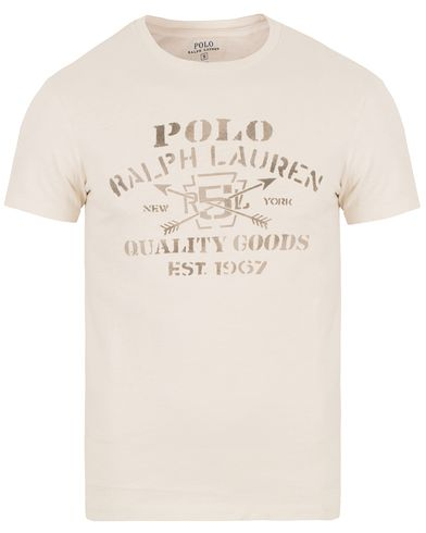 Polo Ralph Lauren Crew Neck Printed Tee Antique Cream i gruppen T-Shirts / Kortärmade t-shirts hos Care of Carl (13630211r)